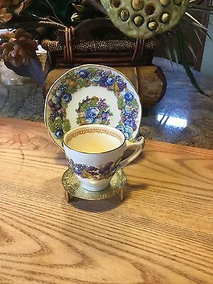 Vintage Crown Ducal Florentine Demitasse Cup and Saucer w/Stand