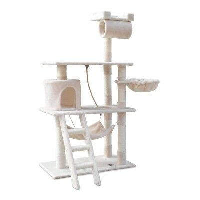 Cat Scratching Post Tree Scratcher Pole Furniture Gym House Toy 141cm Beige @AA