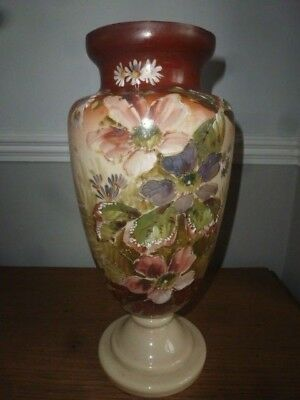 Very Tall Victorian Opaline Hand Decorated Floral Glass Vase