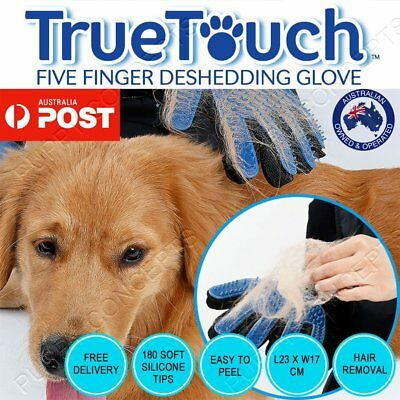 True Touch Brush Glove Pet Dog Cat Massage Grooming Wash Hair Removal OZ SELLER