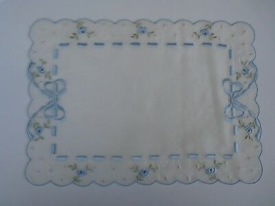 Vintage 100% Silk Sheer Doily Doiley Placemat Embroidered Blue Bows & Roses