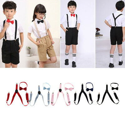 Kids Suspenders With Strong Clips and Adjustable Bowtie Set for Child Boys Girls