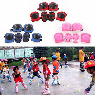 Kids Outdoor Skating Skateboard Roller Knee Wrist Elbow Guard Pads Protector 6pB