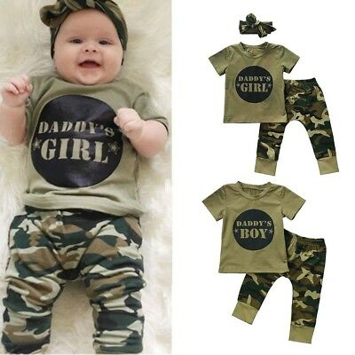 Baby Boy Girl Camo T-shirt Tops Pants Outfits Set Clothes 0-24M Cotton Casual
