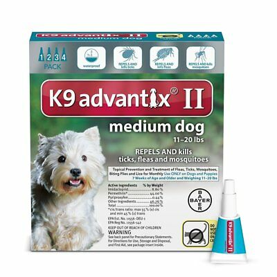 K9 Advantix II Flea & Tick Treatment for Medium Dogs 11-20 lbs - 4 Doses