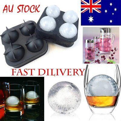HOT!!  Round Ice Balls Maker Tray FOUR Large Sphere Molds Cube Whiskey Cockta C2