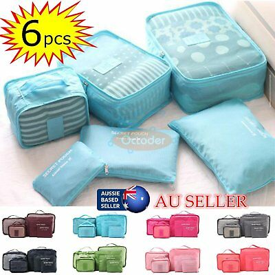 6Pc Waterproof Travel Storage Bag Clothes Packing Cube Luggage Organizer E2