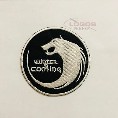 Winter Is Coming Game of Thrones House Stark Wolf Embroidered Iron On Sew On N16