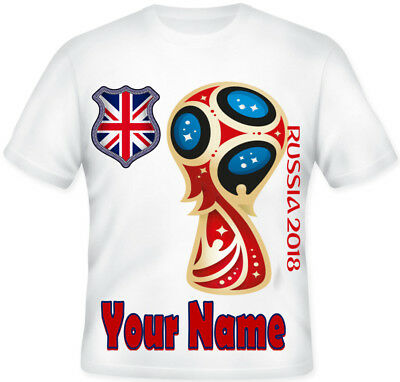 KIDS Russia 2018 World Cup  Football Personalised England Union Jack T shirt