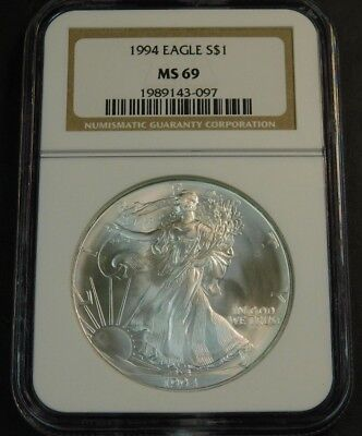 1994 $1 American Silver Eagle NGC MS69 OLD NGC Brown Label Holder