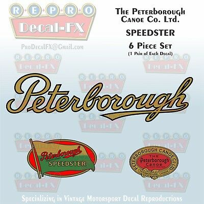 Peterborough Canoe Co Ltd Speedster Reproduction 6 Piece Marine Vinyl Decal