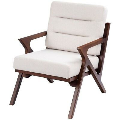 Outstanding Room Mid Century Accent Chair Fabric Upholstered Beige Uwap Interior Chair Design Uwaporg