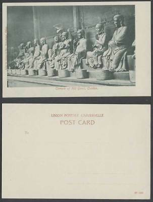 China Old Postcard Canton Temple of Five Hundred 500 Genii, Buddha Deity Statues