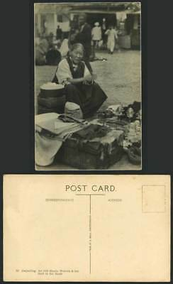 TIBET China Old Postcard Old Bhutia Woman & Her Stall in Bazar Market Darjeeling