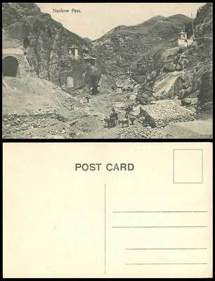 China Old Postcard NANKOW PASS Tunnel Gate Temple Shrine Donkeys Mountains Rocks
