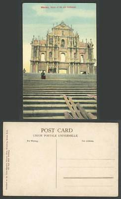 Macao Macau Old Colour Postcard St. Paul's Old Cathedral Ruins Portuguese China