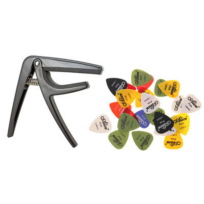 Tune Quick Change Clamp Guitar Capo with Plectrums for Uke Acoustic Guitar