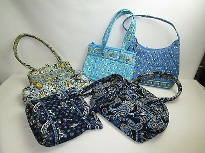 Vera Bradley Mixed Lot of 5 Purses/ Various Styles, Designs & Sizes/Blue Colored