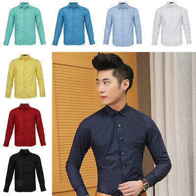 Men Long Sleeve Shirt Business Work Smart Formal Casual Plain Dress Shirts