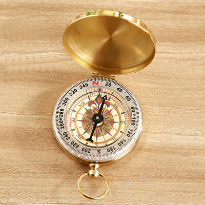Classic Brass Pocket Watch Style Camping Compass Outdoor Hiking Ring Keychain