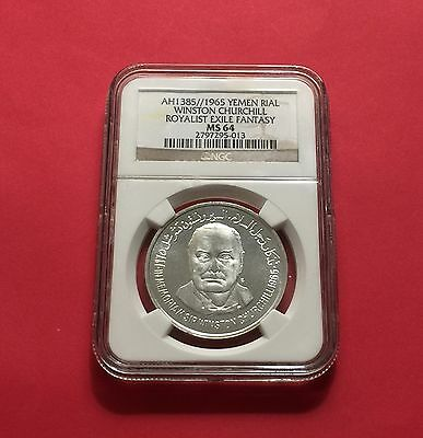 Yemen -Unc 1965 Silver  Rial Winston Churchill Royalist Exile Fant... Ngc Ms-64.