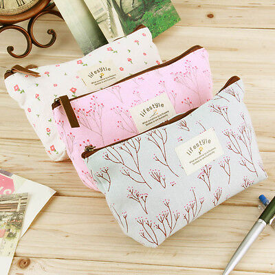 Kids School Stationaries Dual Zipper Pencil Case Cute Makeup Bag Pen Bag SI