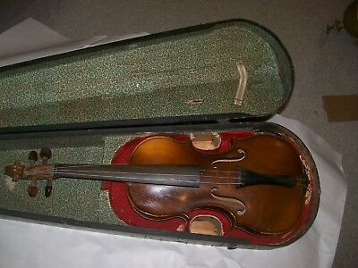 Violin 7/8 unmarked w/ wood case as found