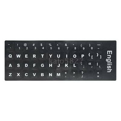 White Letters English QWERTY Keyboard Sticker Black backgound for Laptop PC