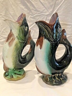 Lot of 2x Antique 19th Century Majolica Gurgling Fish Jugs Pitchers
