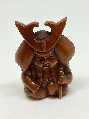Hand carved Wood Netsuke Warrior/Holy Man?, Vintage / Antique Style