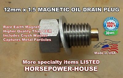 U.S. 12mm MAGNETIC OIL DRAIN PLUG @ 2014-up VICTORY INDIAN EQUIVALENT TO 7052306