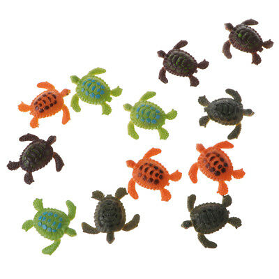 12pcs Small Plastic Animals Turtle Model Figures Kids Children Preschool Toy