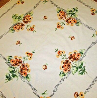 "Vintage Hand Embroidered Linen 45"" X 45"" Orange FLOWER Tablecloth retro"