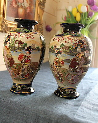 A Pair of Large Japanese Satsuma Vases Hand Painted