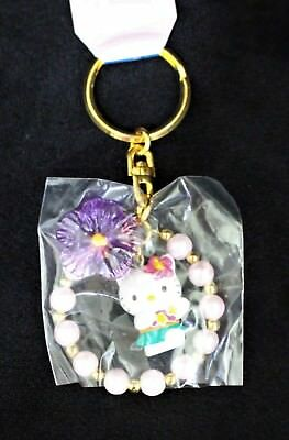 Hello Kitty Hawaii Key Chain Aloha Attire Hibiscus Collectible Vintage Key Ring