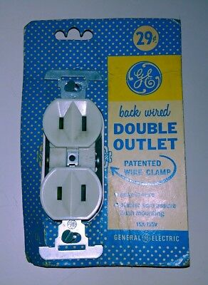 1940's Vintage G.e.~General Electric~Back Wired~Double Outlet On Original Card