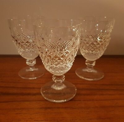 3x Galway Crystal O'Malley Port Wine Glasses 3oz