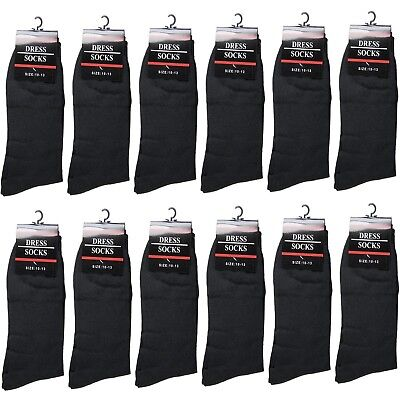 New 12 Pairs Mens All Black Dress Socks Fashion Casual Cotton Size 10-13(347-2L)