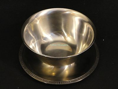 EUC Stainless Steel 18-8 Sauce Gravy Bowl w/ Underplate Unique Design Edging 6""