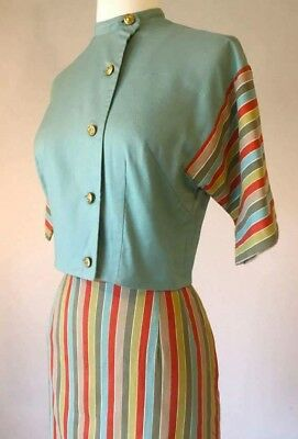 1950s turquoise striped colorful candy stripe 2 piece vlv pinup