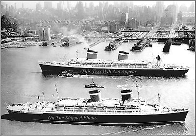 Photo: SS United States & SS America Pass Each Other, Manhattan, 1953