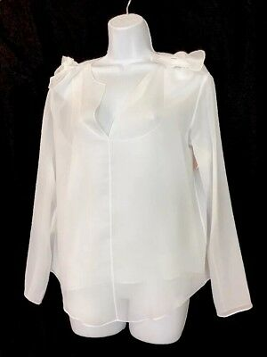 Chloe Top White Long Sleeve With Camisole Knot Shoulder NWT Size 36
