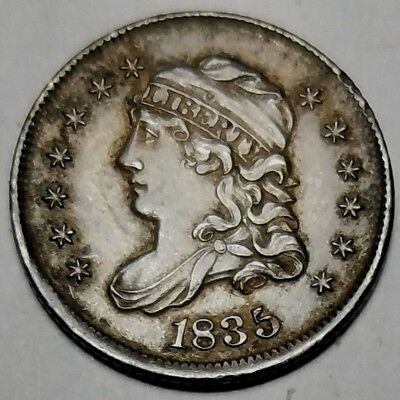 1835 H10C Large Date Large 5C Capped Bust Half Dime-VF+ FREE USA SHIPPING