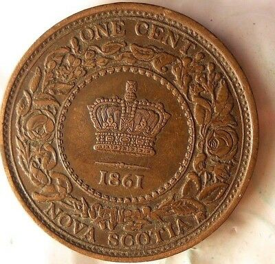 1861 NOVA SCOTIA CENT - High Grade Rare Coin - FREE SHIPPING - HV39