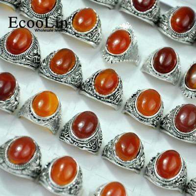 40pcs Ancient Silver Rings Agatee Stone For Women Wholesale Jewelry Free Post