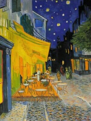 """Vincent Van Gogh """"Cafe Terrace at Night"""" Oil Painting On Canvas 18""""x24""""."""