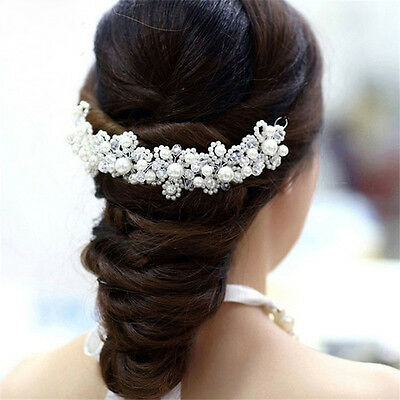 Women Bridal Hair Accessories Wedding Hairband Clip in Pearls Crystal-Headpiece