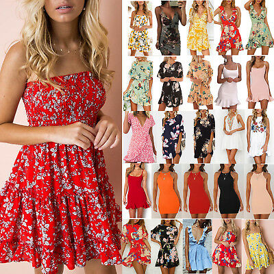 Women Lady Floral Skater Short Mini Dress Holiday Casual Party Cocktail Sundress