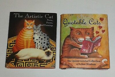 2 Cat Mini Books QUOTABLE CATS + THE ARTISTIC CAT Poems Illustrations