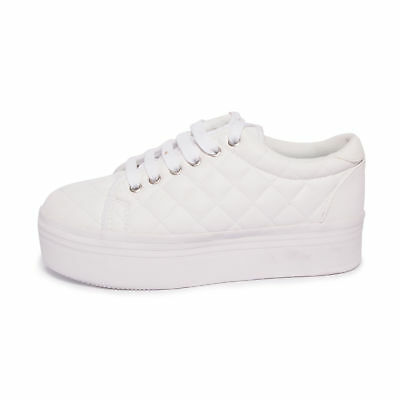 JEFFREY CAMPBELL scarpe JC PLAY .ZOMG QUILTED LEA - WHITE bianco sneakers